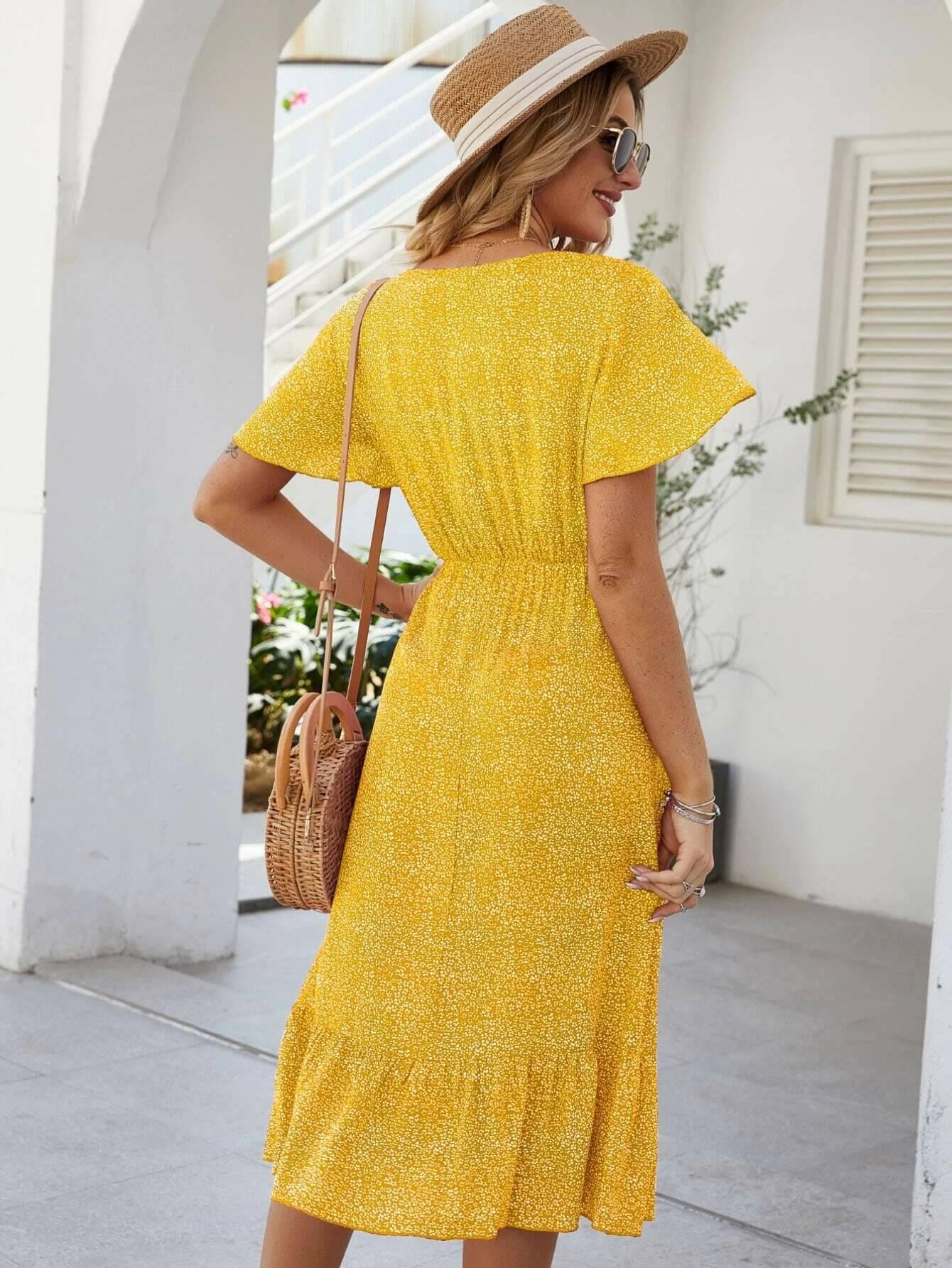 שמלה צהובה ב-shein